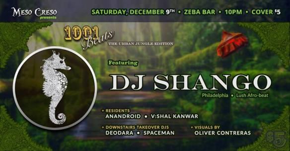 Meso Creso presents 1,001 Beats: The Urban Jungle Edition with DJ Shango at Zeba Bar