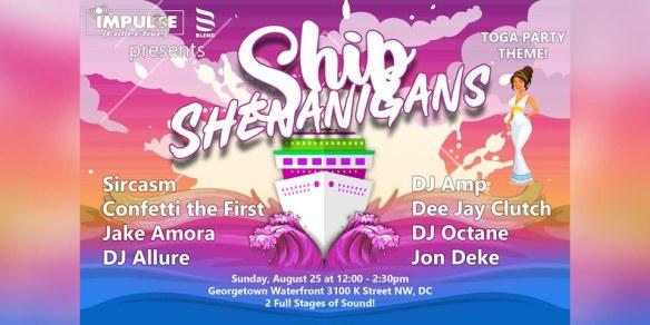 ship shenanigans toga themed boat party