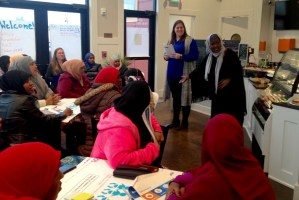 Woman speaking at Somali Community Cafe