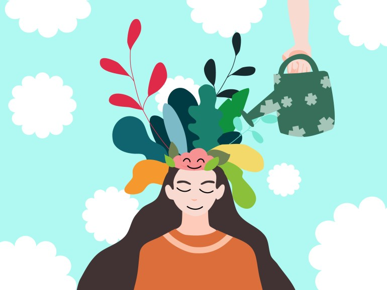 Illustration of a woman with a serene facial expression. Her pink brain is exposed and smiling, and flowers and plants are growing skyward from the top of her head as they are watered from above by a watering can held by a hand.