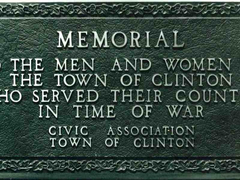 Memorial to the men and women of the Town of Clinton who served their country in time of war. Civic Association Town of Clinton. Brass plaque mounted on 6 foot stone boulder with 30 foot flagpole behind. 1955.Town Hall front lawn, Centre Road, Schultzville, Town of Clinton