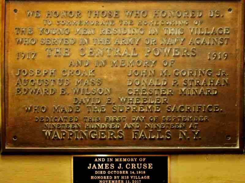 The 1919 Memorial Plaque was updated in 2017 to include James Cruse.
