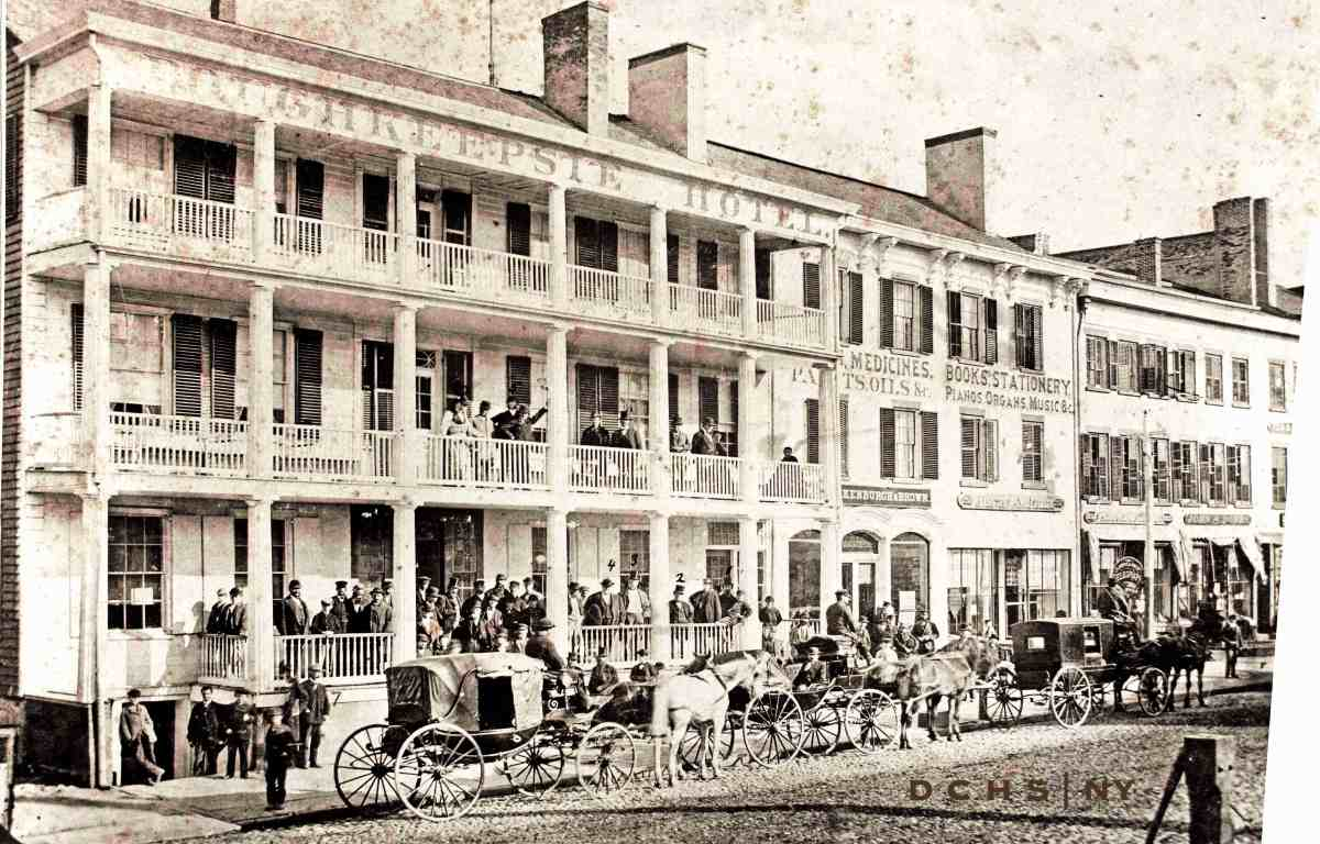 The Poughkeepsie Hotel, shown in 1869, was the location of the breakfast celebration held in honor of the visiting Marquis de Lafayette, the morning of September 16, 1824.