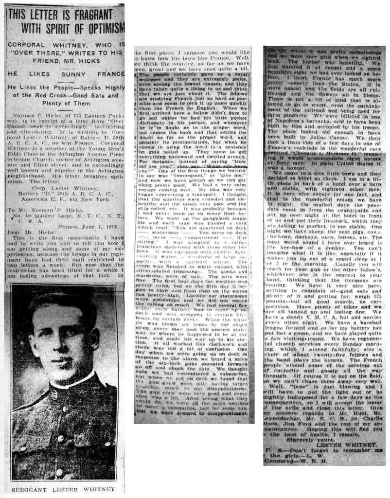Lester Whitney Letter June 1918