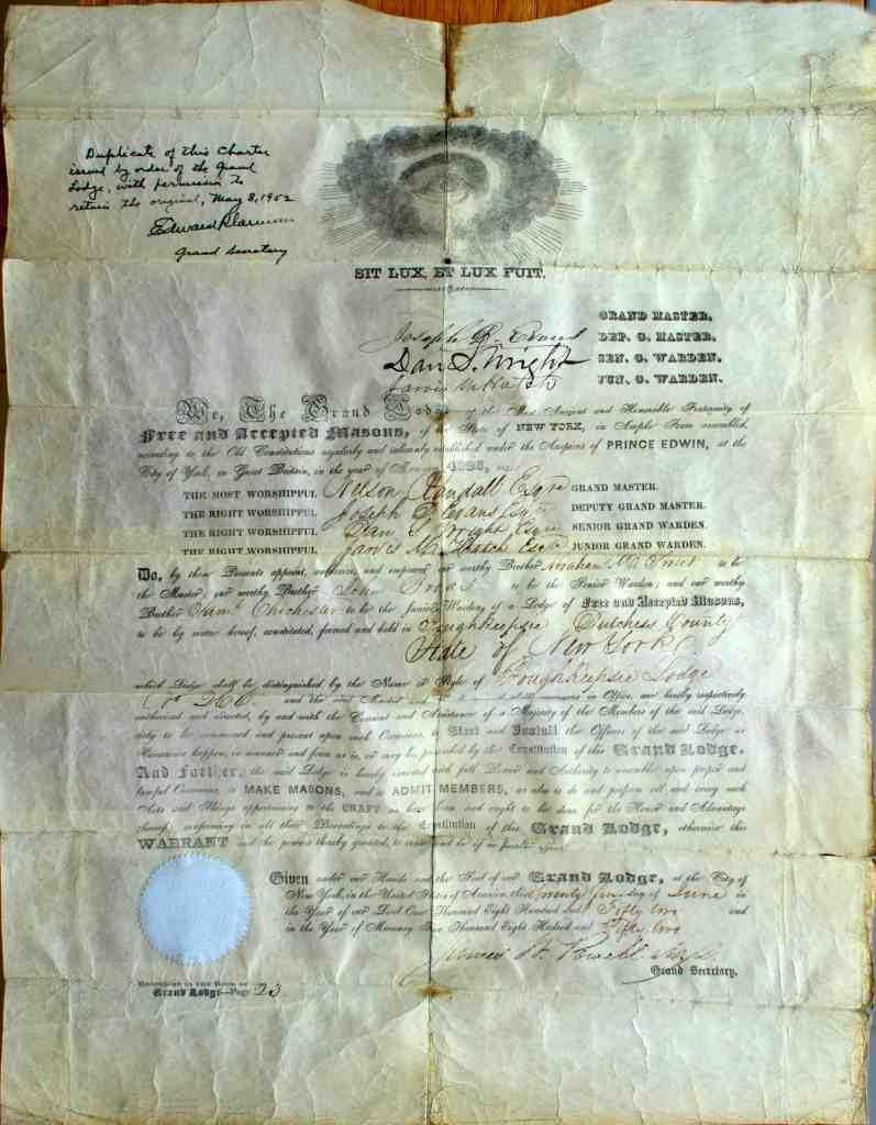 Masonic 012 1852 Charter
