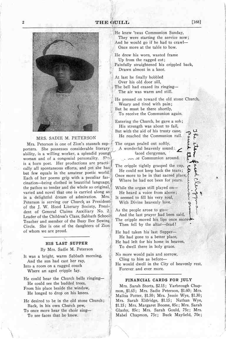 DCHS Sadie Peterson Profile Quill 1915