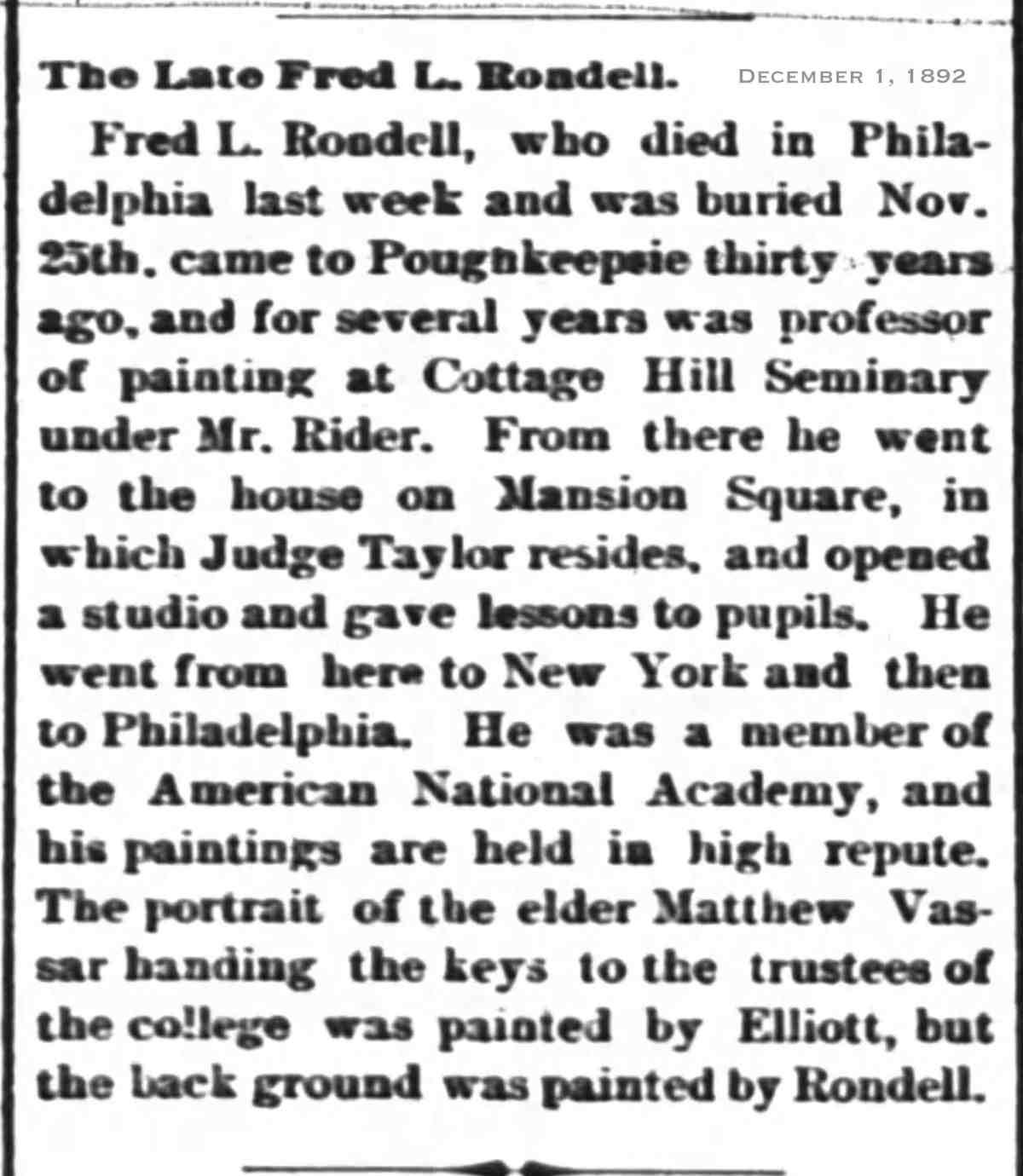 Rondel 1892 Dec 01 obit