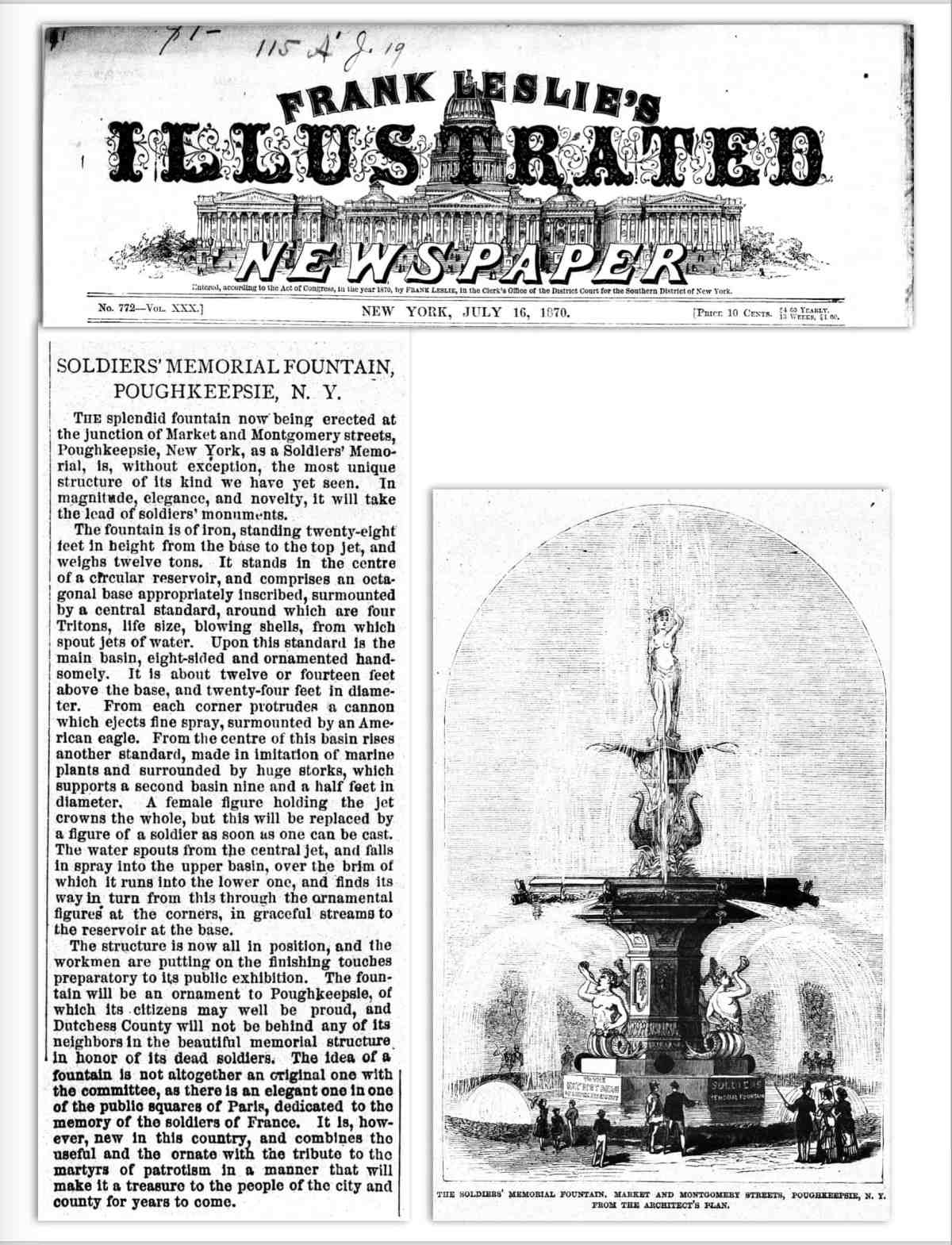 Soldiers Fountain Leslies Weekly 1870