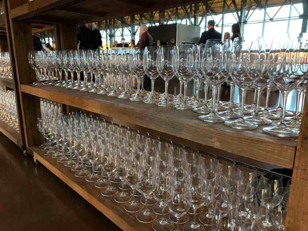 rows of wine glasses at the 2019 Virginia Governors Cup | Photo courtesy Brett Freeman