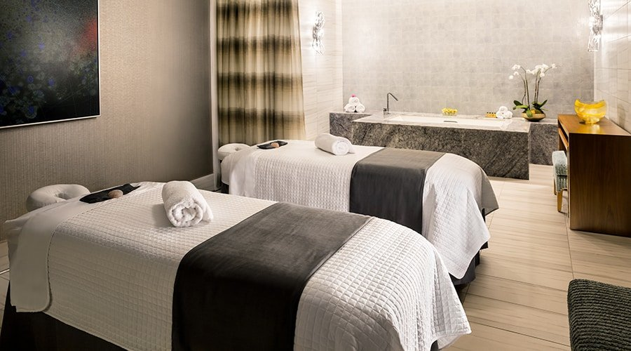 couples treatment room and soaking tub for two steps away
