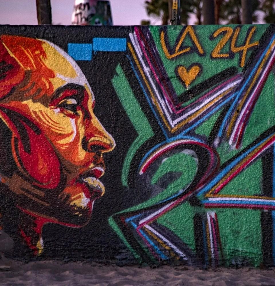 Kobe Bryant mural in Santa Monica, Los Angeles, California. Painted by a fan in graffiti style