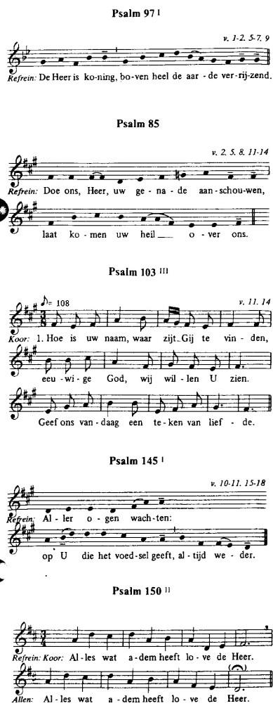 Voorbeeld 6: Refreinen uit beurtzangen, bruikbaar als acclamaties tijdens de Canon.