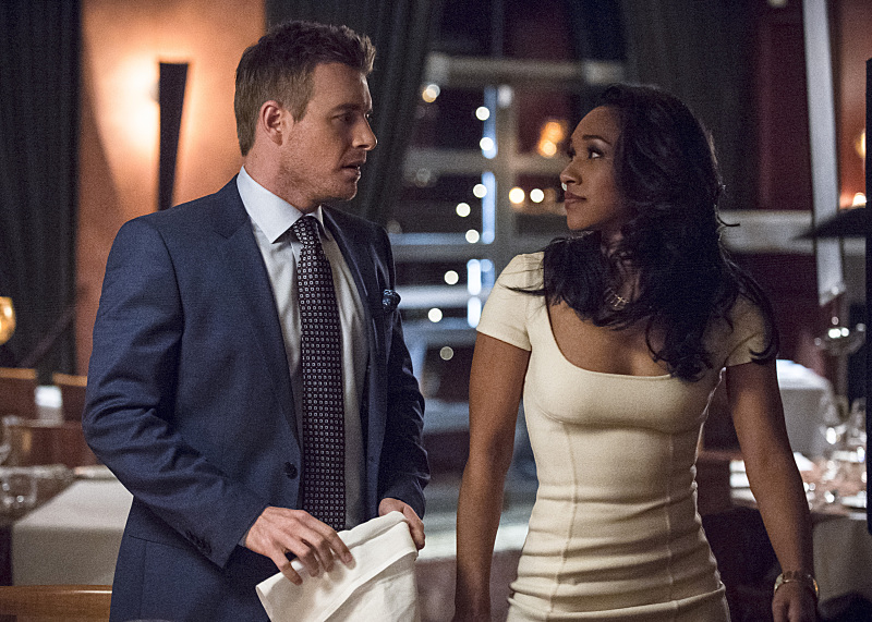 """The Flash -- """"All Star Team Up"""" -- Image FLA118A_0276b -- Pictured (L-R): Rick Cosnett as Detective Eddie Thawne and Candice Patton as Iris West -- Photo: Cate Cameron/The CW -- © 2015 The CW Network, LLC. All rights reserved"""