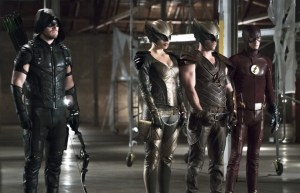 "Arrow -- ""Legends of Yesterday"" -- Image AR408B_0242b2.jpg --  Pictured (L-R): Stephen Amell as The Arrow, Ciara Renee as Hawkgirl, Falk Hentschel as Hawkman and Grant Gustin as The Flash -- Photo: Katie Yu/ The CW -- © 2015 The CW Network, LLC. All Rights Reserved"