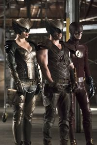 "Arrow -- ""Legends of Yesterday"" -- Image AR408B_0251b.jpg --  Pictured (L-R): Ciara Renee as Hawkgirl, Falk Hentschel as Hawkman and Grant Gustin as The Flash -- Photo: Katie Yu/ The CW -- © 2015 The CW Network, LLC. All Rights Reserved"