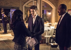 """The Flash -- """"The Darkness and the Light"""" -- Image FLA205B_0019b.jpg -- Pictured (L-R): Candice Patton as Iris West, Grant Gustin as Barry Allen and Jesse L. Martin as Detective Joe West -- Photo: Cate Cameron/The CW -- © 2015 The CW Network, LLC. All rights reserved."""