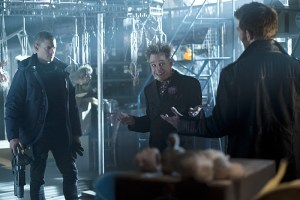 """The Flash -- """"Running to Stand Still"""" -- Image: FLA209A_0027b.jpg -- Pictured (L-R): Wentworth Miller as Leonard Snart, Mark Hamill as James Jesse/Trickster and Liam McIntyre as Mark Mardon-- Photo: Cate Cameron/The CW -- © 2015 The CW Network, LLC. All rights reserved."""