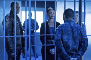 """Arrow -- """"A.W.O.L."""" -- Image AR411b_0207b.jpg -- Pictured (L-R): David Ramsey as John Diggle, Cynthia Addai-Robinson as Amanda Waller, Eugene Byrd as Andy Diggle and Audrey Marie Anderson as Lyla Michaels -- Photo: Liane Hentscher/ The CW -- © 2016 The CW Network, LLC. All Rights Reserved."""