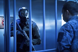 """Arrow -- """"A.W.O.L."""" -- Image AR411b_0025.jpg -- Pictured (L-R): XX as XX and Eugene Byrd as Andy Diggle -- Photo: Liane Hentscher/ The CW -- © 2016 The CW Network, LLC. All Rights Reserved."""