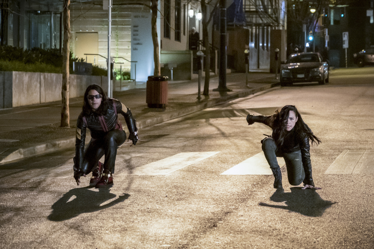 """The Flash -- """"Attack on Central City"""" -- FLA314a_0203b.jpg -- Pictured (L-R):  Carlos Valdes as Cisco Ramon and Jessica Camacho as Gypsy -- Photo: Katie Yu/The CW -- © 2017 The CW Network, LLC. All rights reserved."""