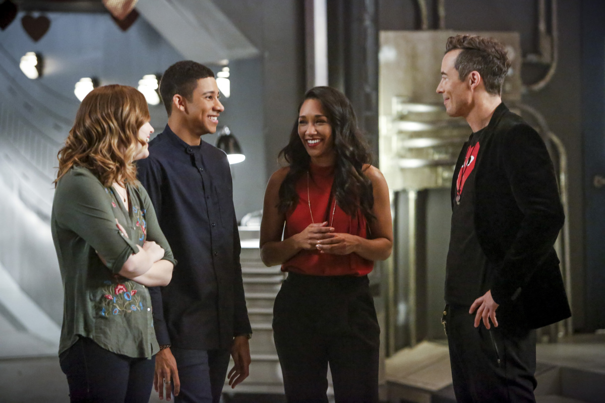 """The Flash -- """"Attack on Central City"""" -- FLA314b_0225b.jpg -- Pictured (L-R): Violett Beane as Jesse Quick, Keiynan Lonsdale as Wally West, Candice Patton as Iris West and Tom Cavanagh as Harrison Wells -- Photo: Bettina Strauss/The CW -- © 2017 The CW Network, LLC. All rights reserved."""