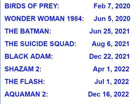 DC Movie Schedule