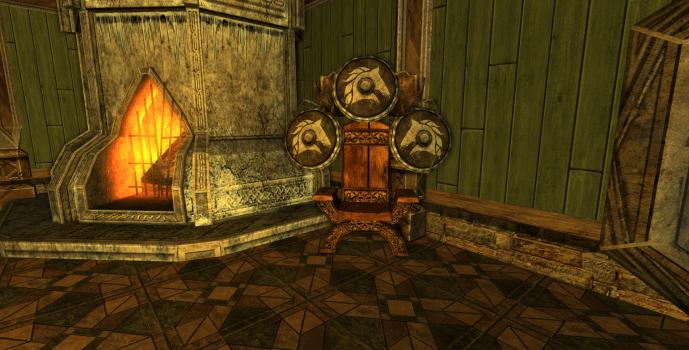 Chaise et trois boucliers des Rohirrim