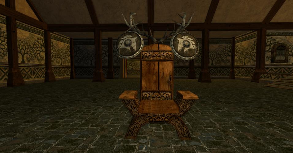 chaise et deux boucliers des R