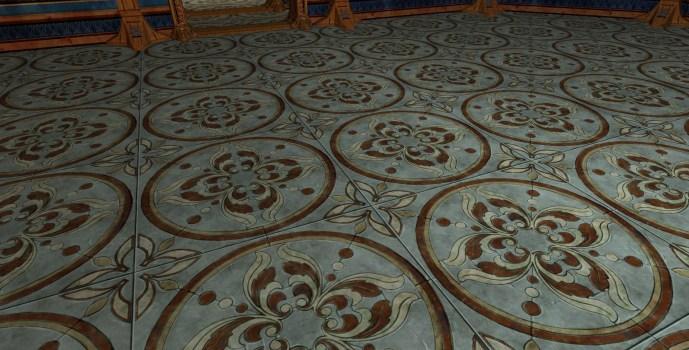 Plancher en dalles florales