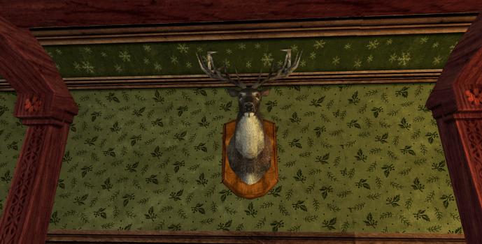 Tête de cerf montée au mur des Rohirrim