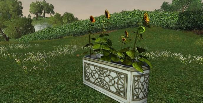 Jardinière en Albâtre avec Tournesols