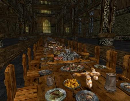 Table de Banquet Décorée Chargée de produits