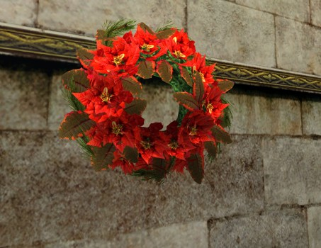 Couronne abondante de Poinsettias Rouges