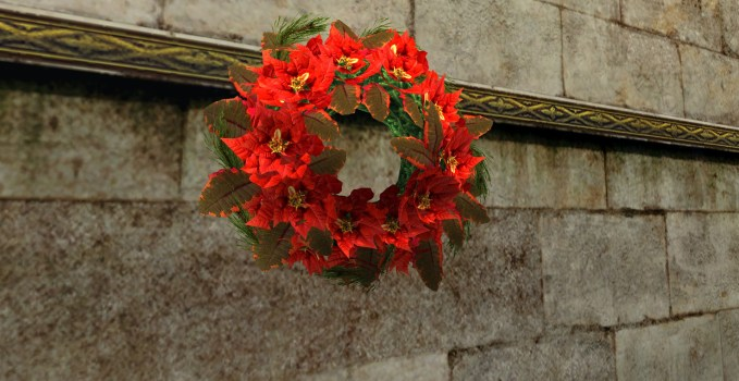 Couronne abondante de Poinsettias Rouges
