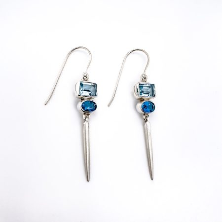 Blue Topaz Icicles Earrings 2