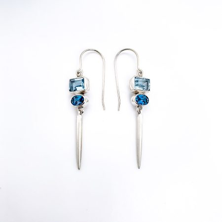 Blue Topaz Icicles Earrings 1