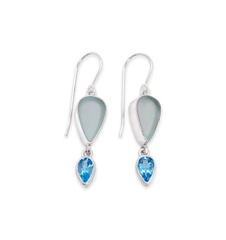 Seaglass and Gemstone Dangle Earrings 4