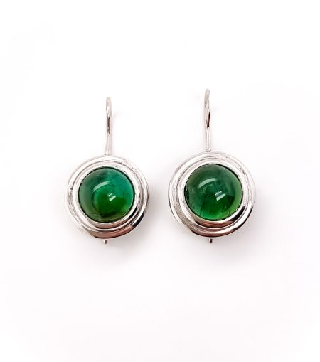 14K Bezel Set Green Tourmaline Dangle Earrings 1