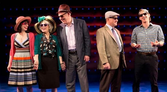 Audrey Lynn Weston, Marilyn Sokol, Lenny Wolpe, Todd Susman, Bill Army in 'Old Jews Telling Jokes' (Photo:  © Joan Marcus)