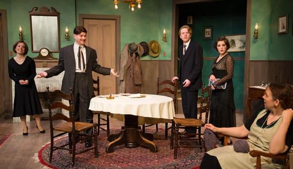 Erin E. McGuff as Amy; David Gram as Aubrey Piper; Evan Crump as Joe; Jenna Berk as Clara; Lee Mikeska Gardner as Mrs. Fisher (Photo: Johannes Markus)