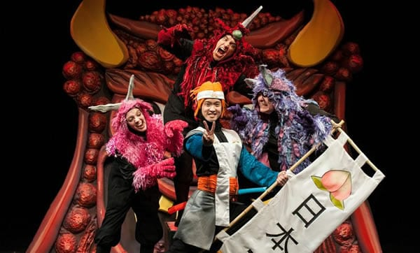 (l-r) Tia Shearer as Nakamon, Rafael Untalan as Daimon, Jacob Yeh as Momotaro, Phillip Reid as Monmon.(Photo: Margot Schulman)