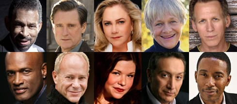 (l-r) top: Maurice Hines, Bill Pullman, Kathleen Turner, Estelle Parsons, Stephen Spinella. bottom: Kenny Leon, Randy Baker, Mary Bridget Davies, Moises Kaufman and Charles Randolph-Wright (Photos courtesy of Arena Stage)