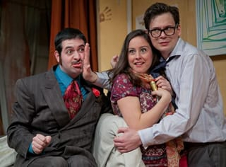 (l-r) Brian Sutow as Harold Gorringe, Dorea Schmidt as Clea and Jerzy Gwiazdowski as Brindsley Miller (Photo: C. Stanley Photography)