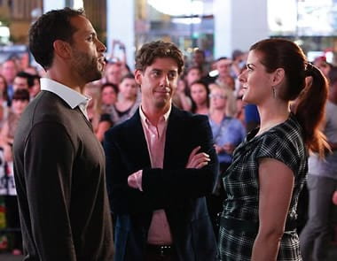 Tom (Christian Borle) bathes in the simmering sexual tension between Peter (Daniel Sunjata) and Julia (Debra Messing).