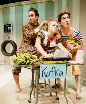 (l-r) Matthew Saldivar, Liv Rooth, and Carson Elrod in Words, Words, Words. (Photo © 2013 James Leynse)