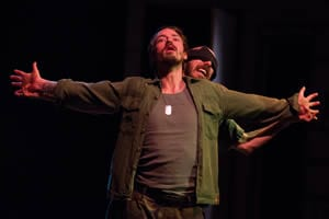 Joe Carlson as Macbeth, Keegan Cassady as Lennox  (Photo: Johannes Markus)