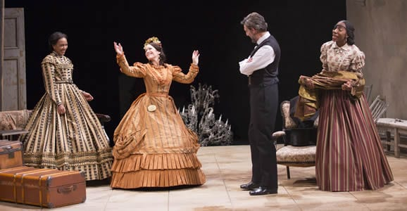 (l-r) Sameerah Luqmaan-Harris as Elizabeth Keckly, Naomi Jacobson as Mary Todd Lincoln, Thomas Adrian Simpson as Abraham Lincoln and Joy Jones as Ivy (Photo: Scott Suchman)