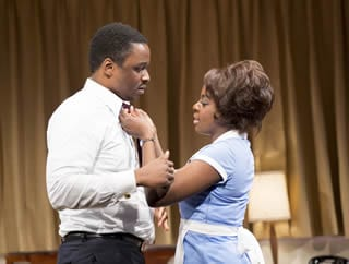 (L-R) Bowman Wright as Dr. Martin Luther King, Jr. and Joaquina Kalukango as Camae  (Photo: Scott Suchman)