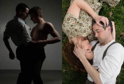 Jon Odom as Jim and Alex Mills as James in 2-2 Tango; Emily Townley as Elizabeth and Jens Rasmussen as Tom in Skin Tight (Photos: Igor Dmitry)