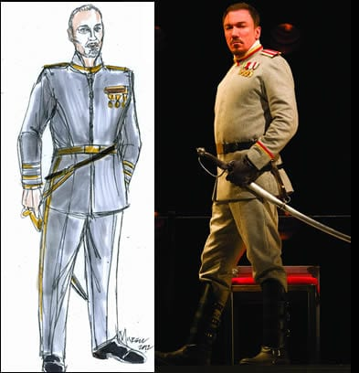 Design and actual costume worn by Patrick Page as Coriolanus (Production photo by Scott Suchman)